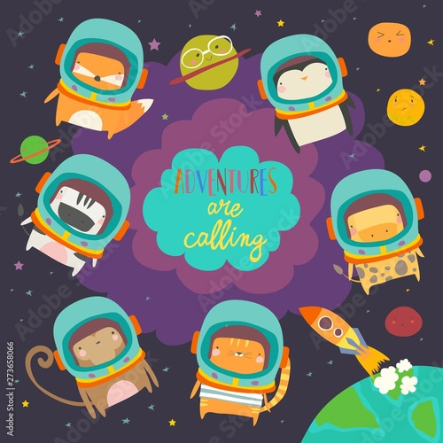 Cute animals in space. Funny animals wearing space suits