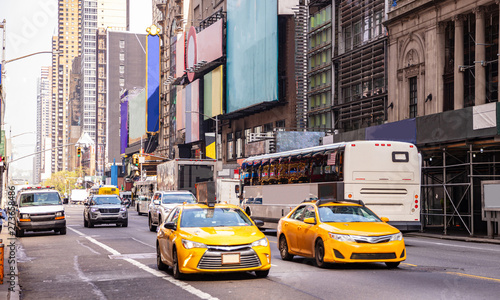 Poster New York TAXI New York, streets. High buildings, colorful signs, cars and cabs