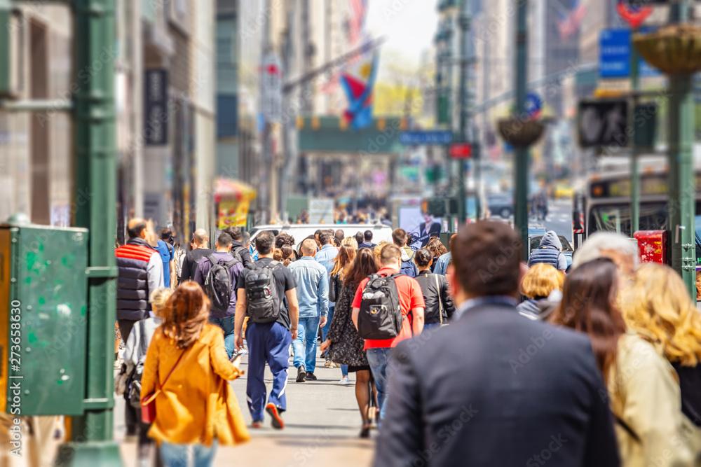 Fototapeta New York, streets. High buildings and crowd walking
