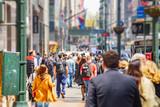 Fototapeta Nowy Jork - New York, streets. High buildings and crowd walking