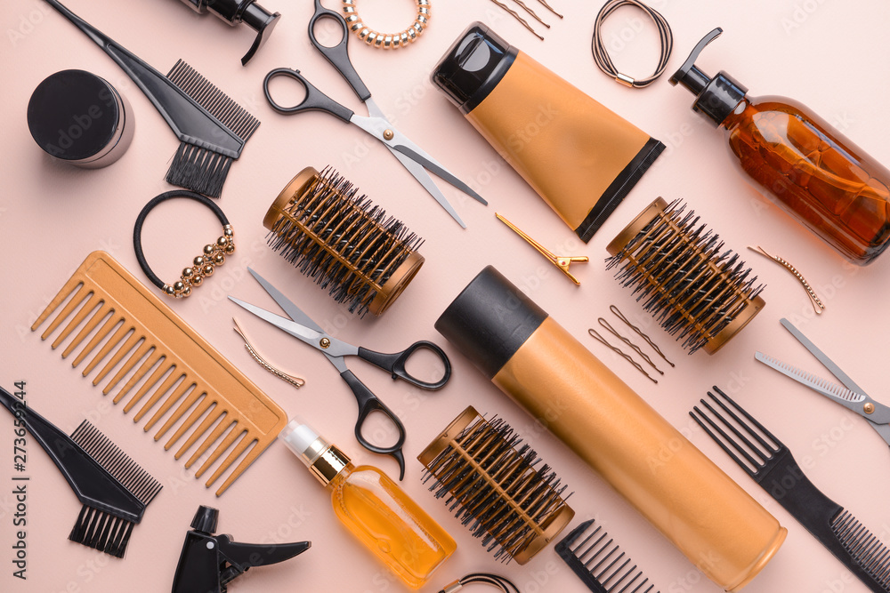 Fototapety, obrazy: Set of hairdresser tools and accessories on color background