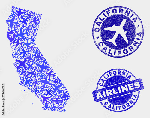 Air plane vector California State map mosaic and scratched