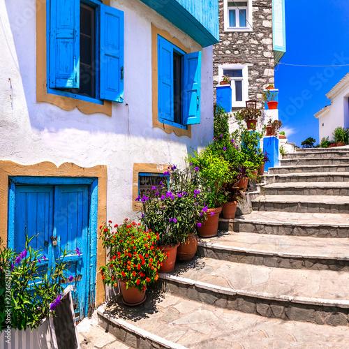 Tradiyonal colorful Greece series - charmng streets of Kokkari village in Samos island