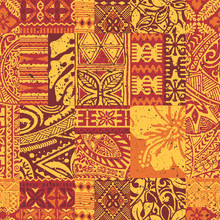 Hawaiian Style Tribal Fabric Patchwork Vintage Vector Seamless Pattern