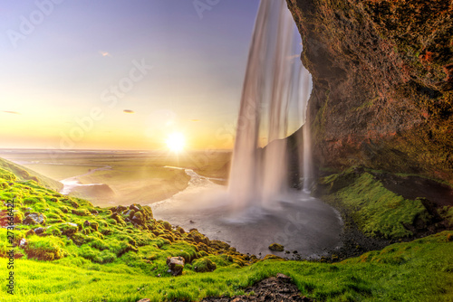 Seljalandfoss from behind cave interior, Iceland