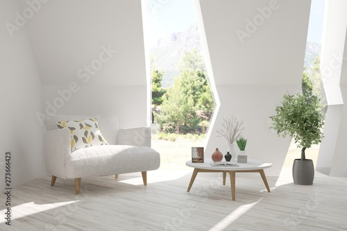 Valokuva  Mock up of stylish room in white color with armchair and green landscape in window