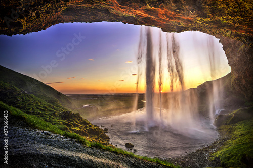 Aluminium Prints Waterfalls Seljalandfoss from behind cave interior, Iceland