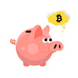 Cute pink piggy bank is dreaming about bitcoin.