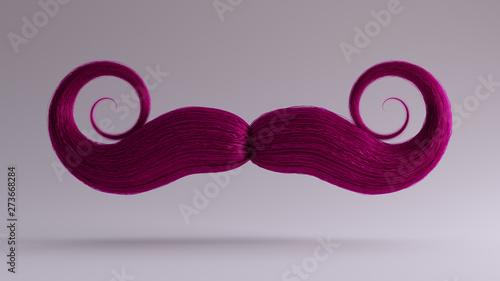 Photo  Big Pink Bushy Curly Mustache 3d illustration 3d render