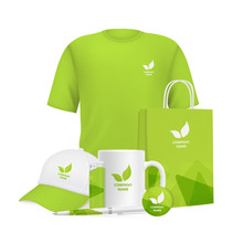 Business Identity. Branding Design Corporate Souvenirs Promotional Items Clothing Cup Cap Pen Lighter Vector Realistic Mockup. Illustration Of Cap, Cup And T-shirt With Company Logo Advertising