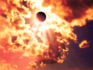 Solar eclipse, moon facing the sun. Sun rays passing through the clouds. Gods ray. It occurs when the shadow cast by the Moon which fully or partially blocks the Sun
