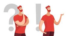 Man Making Decision Flat Vector Characters Set
