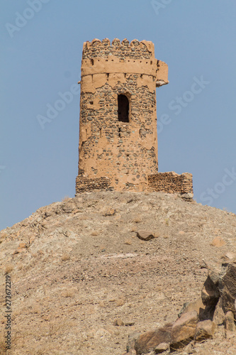 Hilltop watchtower near Ibra, Oman Fototapeta