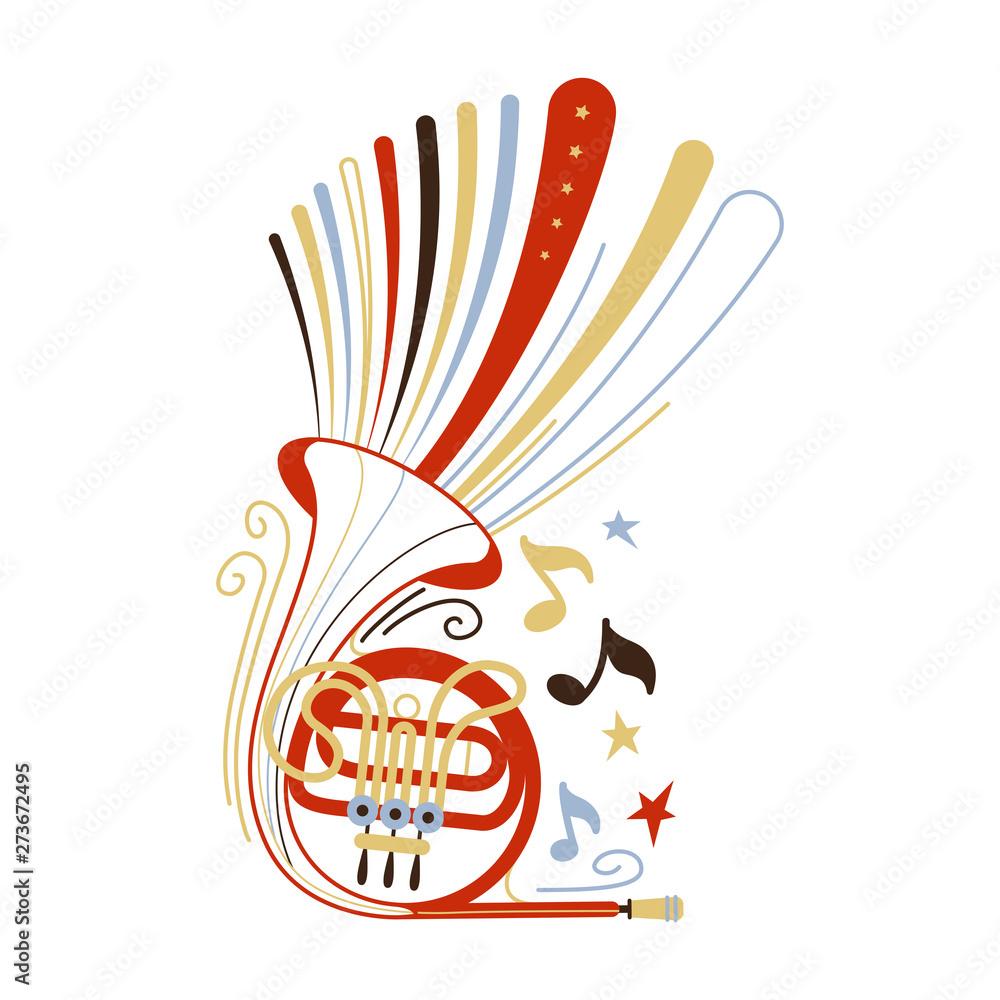 Fototapeta French horn flat vector illustration