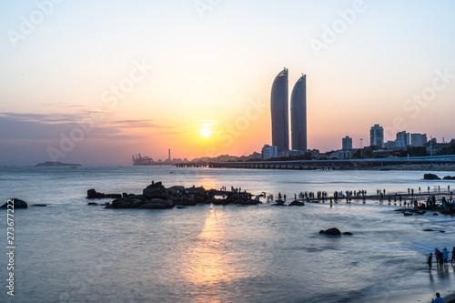 Photo  city skyline in xiamen china