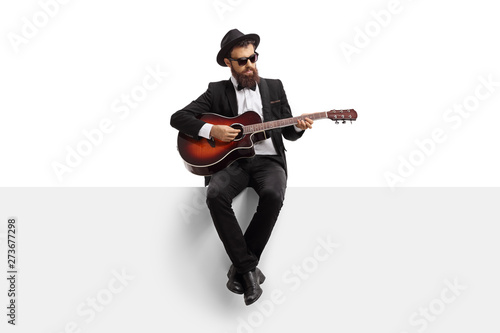 Fotografie, Tablou  Man playing an acoustic guitar and sitting on a white banner