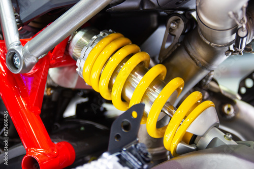 Photo yellow Shock Absorbers of Motorcycle for absorbing jolts
