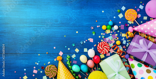 Fotografie, Obraz Holiday background with balloons, gift boxes and confetti