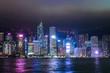 香港 ビクトリアハーバー 夜景 曇天