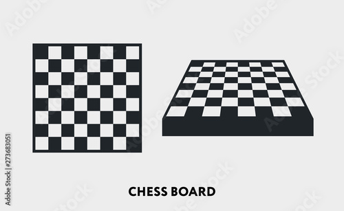 Chess Checkered Board Game. Vector Flat Line Icon Illustration. Fototapeta