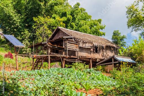 Tablou Canvas Village house on stilts near Hsipaw, Myanmar