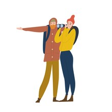 Cute Happy Young Man And Woman Standing And Looking Through Binoculars. Boyfriend And Girlfriend Travel Together In Wild Nature. Romantic Couple On Hiking Trip. Flat Cartoon Vector Illustration.