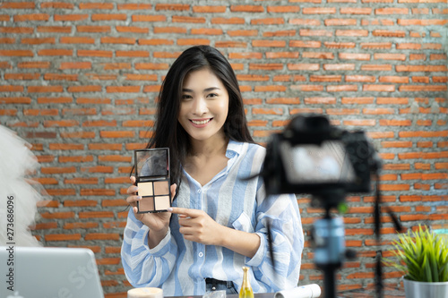 Young beautiful Asian woman beauty Famous blogger or vlogger does