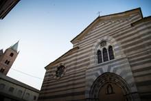 Facade Of The Saint Mary In Fontibus Church. Albenga, Liguria, Italy.