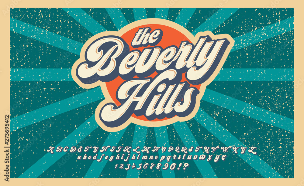 Fototapeta Bewerly Hills. Summer time. Retro 3d font in 80s style. Vintage typography. Summer font set.