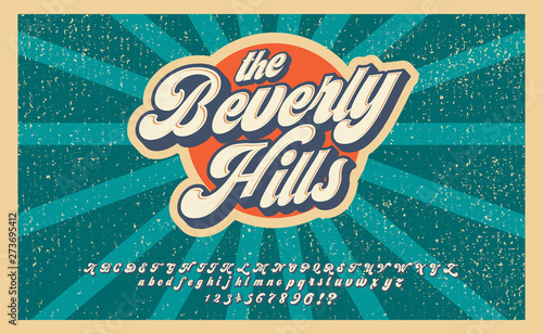 Fototapeta Bewerly Hills. Summer time. Retro 3d font in 80s style. Vintage typography. Summer font set. obraz