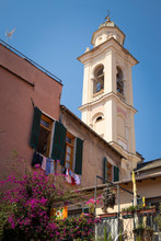 View Of The Historic District Of Albenga With The Cathedral Bell Tower. Italy.