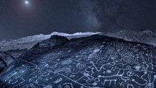 Night Sky Over Ancient Petroglyphs In Eastern Sierra Nevada Mountains California