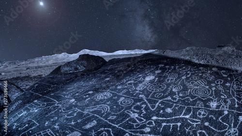 Night Sky over Ancient Petroglyphs in Eastern Sierra Nevada Mountains California Fototapeta