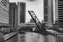 Black And White Image Of The Raised Kinzie Street Railroad Bridge Over The Chicago River