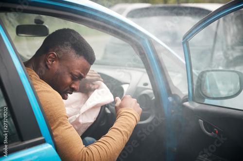 Male Motorist Injured In Car Crash With Airbag Deployed Wallpaper Mural