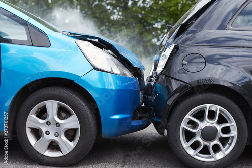 Close Up Of Two Cars Damaged In Road Traffic Accident Canvas Print