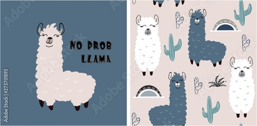 Cuadros en Lienzo set of cute llama print and seamless pattern with llamas. vector