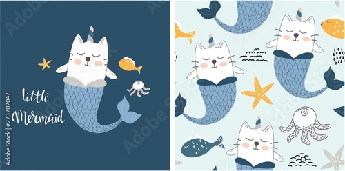 obraz PCV set of cute cat mermaid print and seamless pattern with cat mermaids. vector