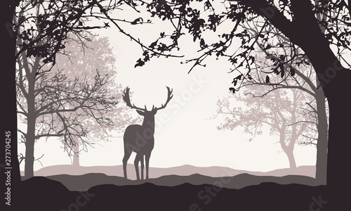 Fototapeta Realistic illustration of landscape with forest, trees and hills, under retro color sky with space for text. Standing deer, vector obraz