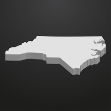 North Carolina State Map In Gray On A Black Background 3d