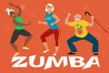 Three senior people participating in a zumba class, EPS 8 vector illustration