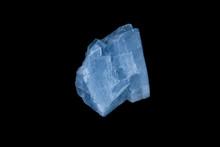 Blue Calcite Mineral On Black