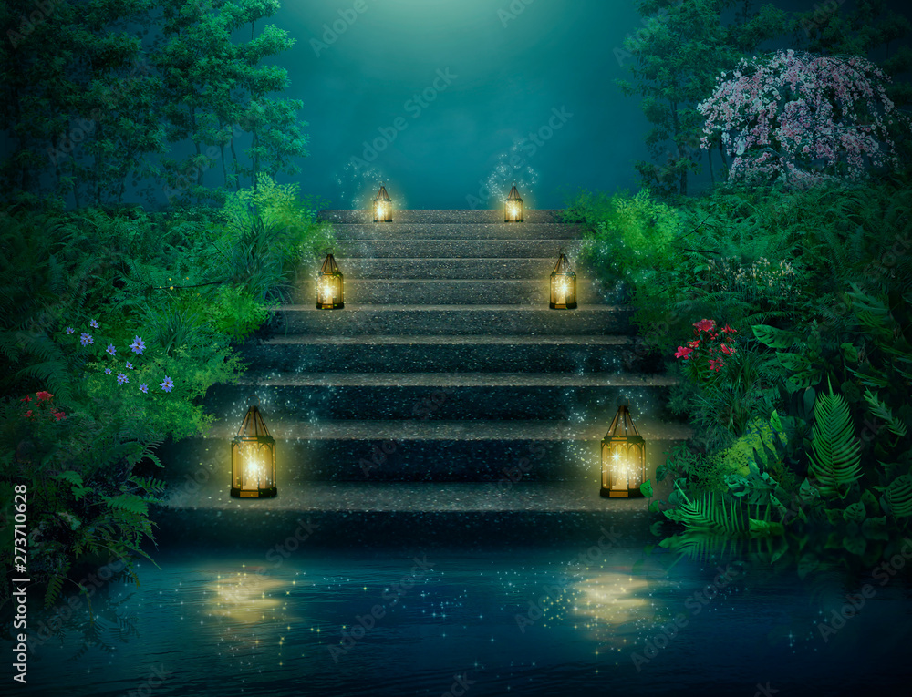 Fototapety, obrazy: Fantasy stairs with lanterns in the river at night.