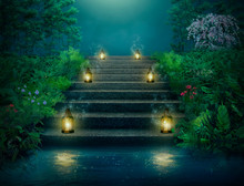 Fantasy Stairs With Lanterns In The River At Night.