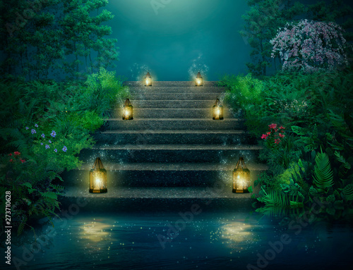 Obrazy w różnych kolorach  fantasy-stairs-with-lanterns-in-the-river-at-night
