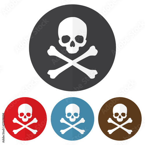 Cuadros en Lienzo Set of skull and crossbones icon on a colorful circles