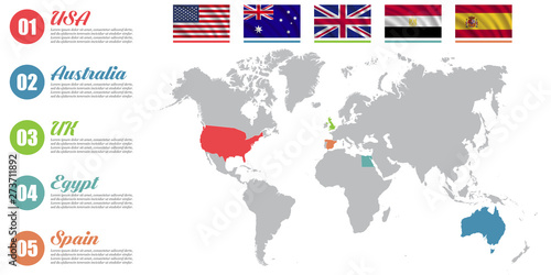 World map infographic. Slide presentation. USA, Australia ...