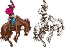 Cowboy Riding A Wild Rodeo Ho...