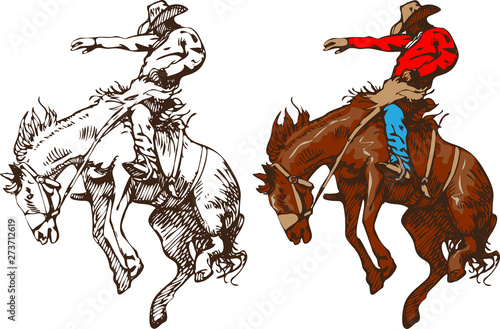 Fotografía  к: vector banner poster with a cowboy rider sitting on a wild horse mustang and