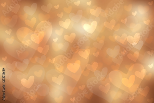 Abstract festive blur bright gold brown pastel background with colorful hearts love bokeh for wedding card or Mothers day.  Romantic textured backdrop with space for your design. Card concept.
